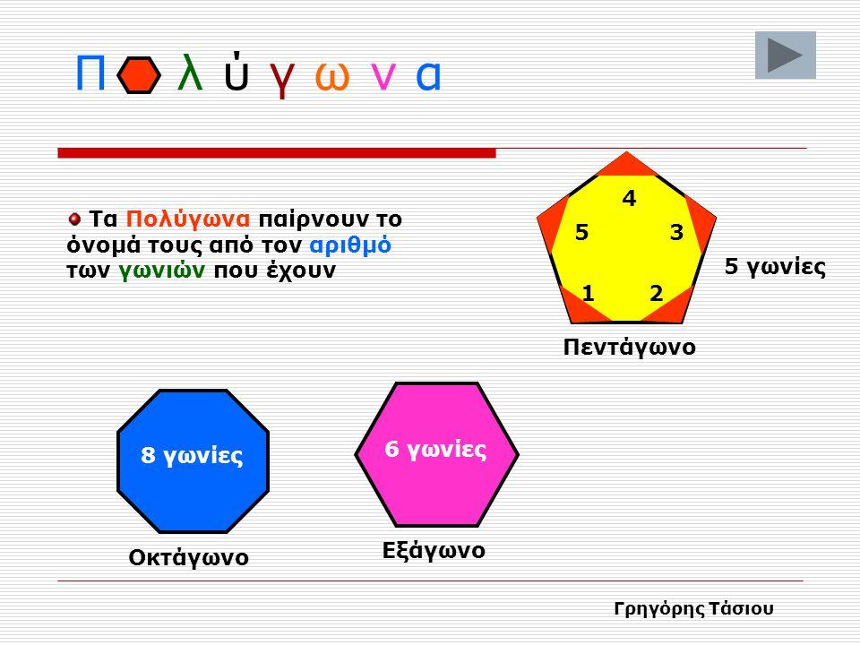 Π λ ύ γ ω ν α 4. Τα Πολύγωνα παίρνουν το όνομά τους από τον αριθμό των γωνιών που έχουν. 5. 3.