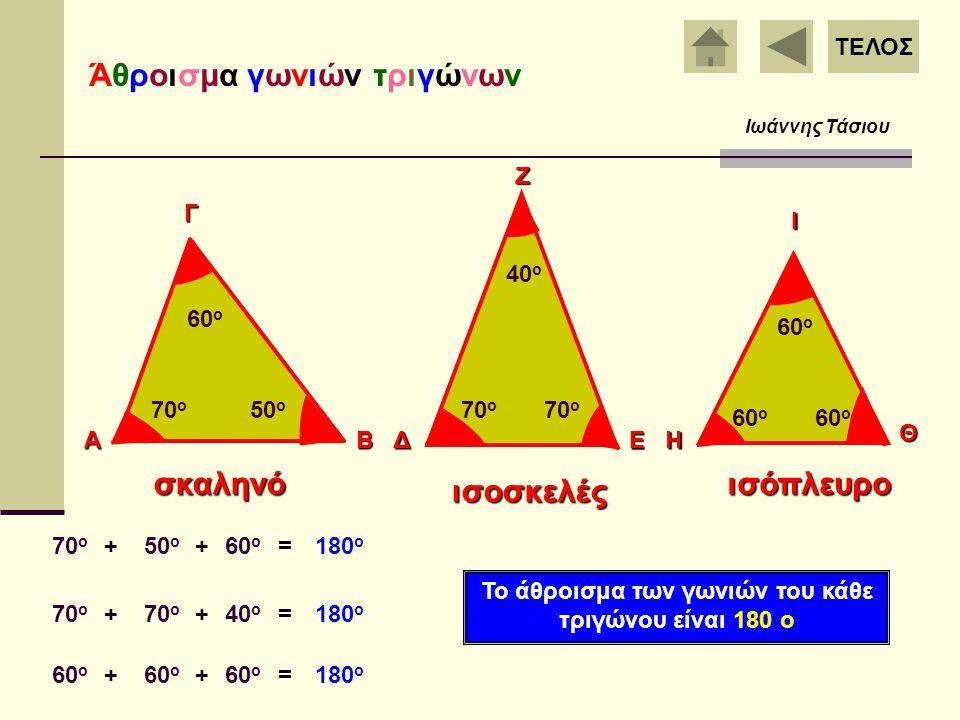 Το άθροισμα των γωνιών του κάθε τριγώνου είναι 180 ο