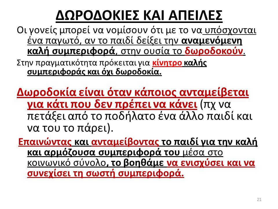 ΔΩΡΟΔΟΚΙΕΣ ΚΑΙ ΑΠΕΙΛΕΣ