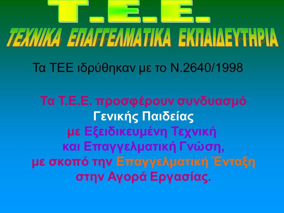 Τα ΤΕΕ ιδρύθηκαν με το Ν.2640/1998