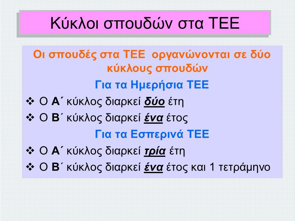 Οι σπουδές στα ΤΕΕ οργανώνονται σε δύο κύκλους σπουδών