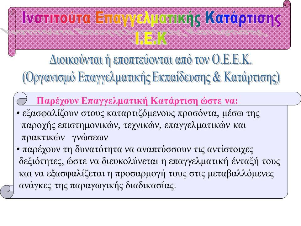 Ινστιτούτα Επαγγελματικής Κατάρτισης Ι.Ε.Κ