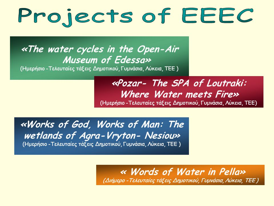 Projects of EEEC «The water cycles in the Open-Air Museum of Edessa»