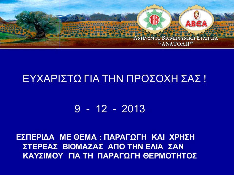 ΕΥΧΑΡΙΣΤΩ ΓΙΑ ΤΗΝ ΠΡΟΣΟΧΗ ΣΑΣ ! 9 - 12 - 2013