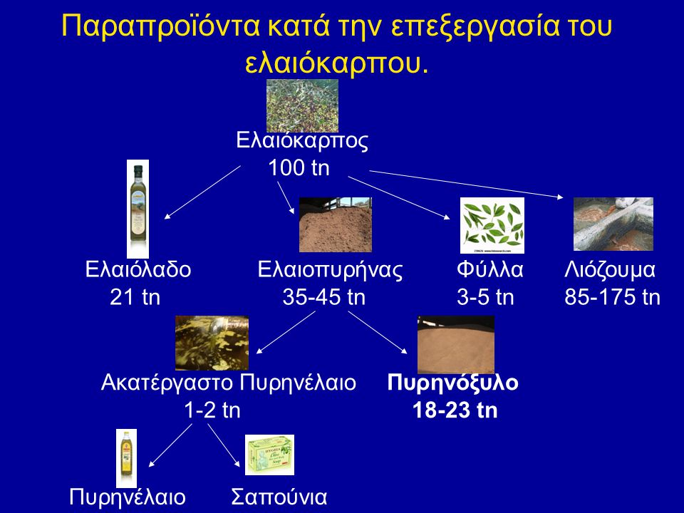 Παραπροϊόντα κατά την επεξεργασία του ελαιόκαρπου.