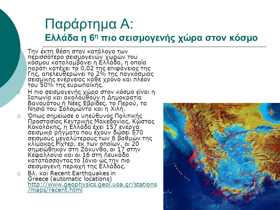 Παράρτημα Α: Ελλάδα η 6η πιο σεισμογενής χώρα στον κόσμο