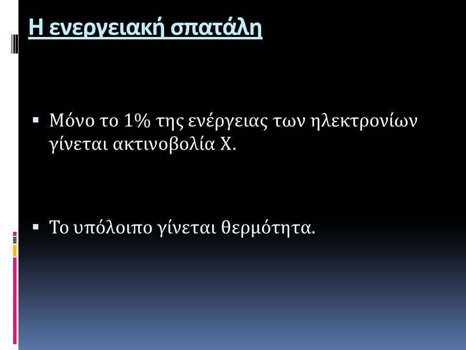 Η ενεργειακή σπατάλη Μόνο το 1% της ενέργειας των ηλεκτρονίων γίνεται ακτινοβολία Χ.