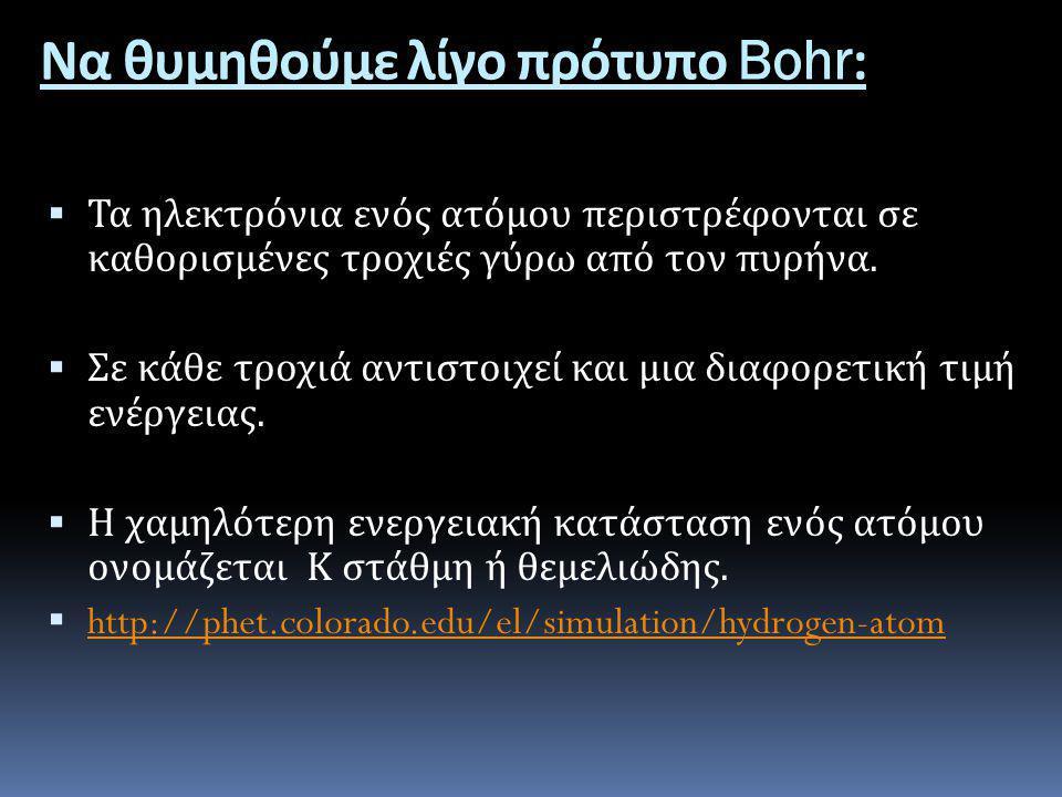 Να θυμηθούμε λίγο πρότυπο Bohr: