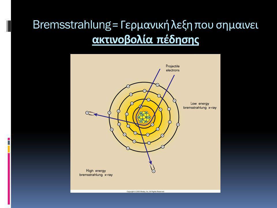Bremsstrahlung = Γερμανική λεξη που σημαινει ακτινοβολία πέδησης