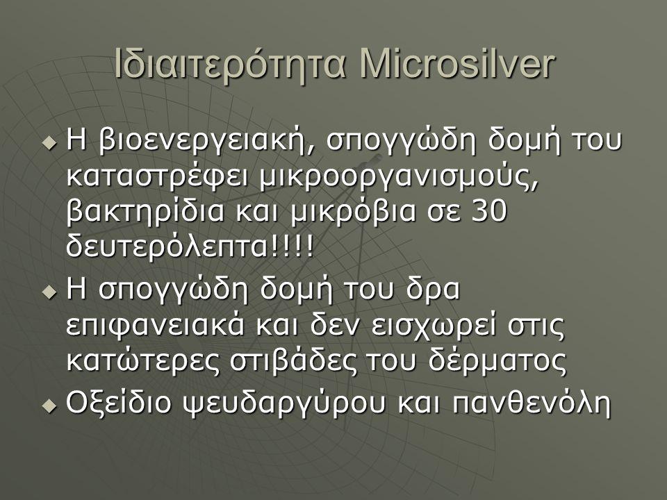 Ιδιαιτερότητα Microsilver