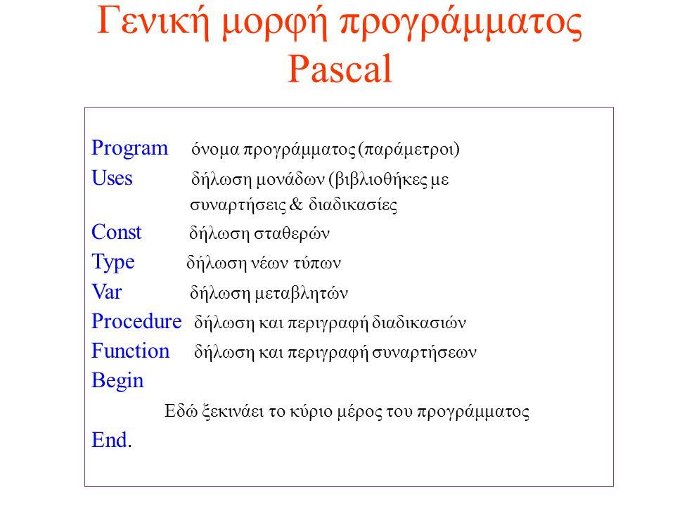 Γενική μορφή προγράμματος Pascal