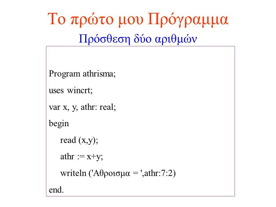 Το πρώτο μου Πρόγραμμα Πρόσθεση δύο αριθμών Program athrisma;