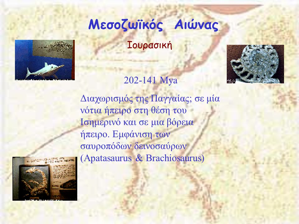 Μεσοζωϊκός Αιώνας Ιουρασική 202-141 Μya