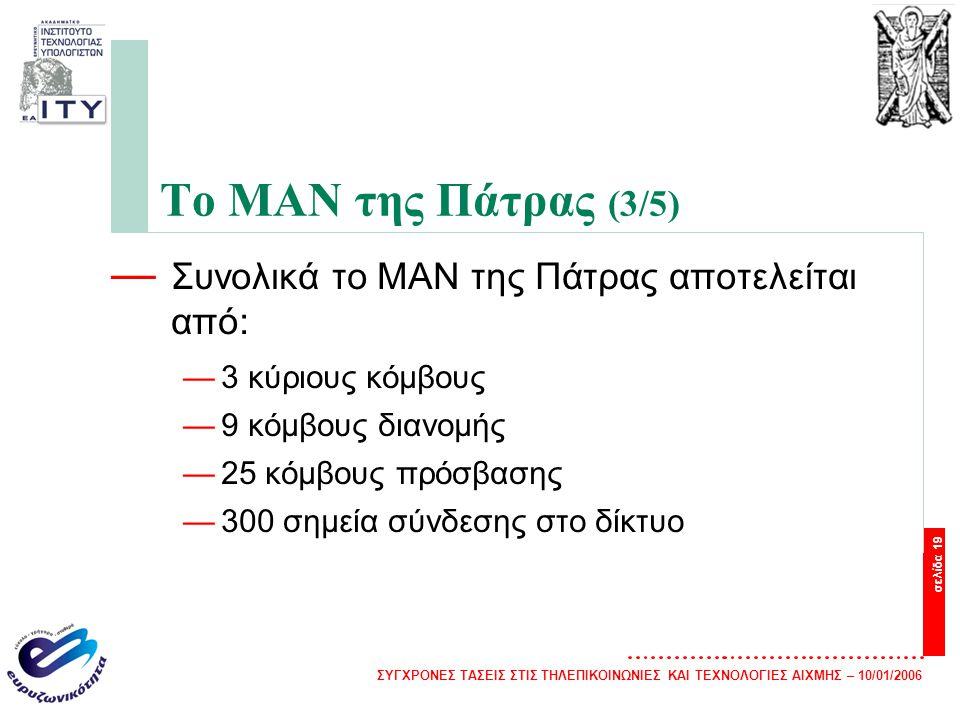 Το ΜΑΝ της Πάτρας (3/5) Συνολικά το ΜΑΝ της Πάτρας αποτελείται από: