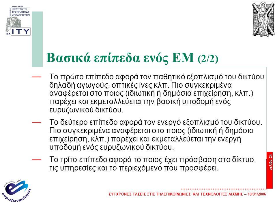 Βασικά επίπεδα ενός EM (2/2)