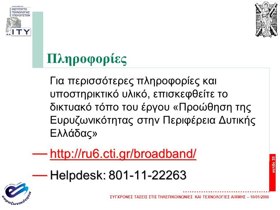 Πληροφορίες http://ru6.cti.gr/broadband/ Helpdesk: 801-11-22263