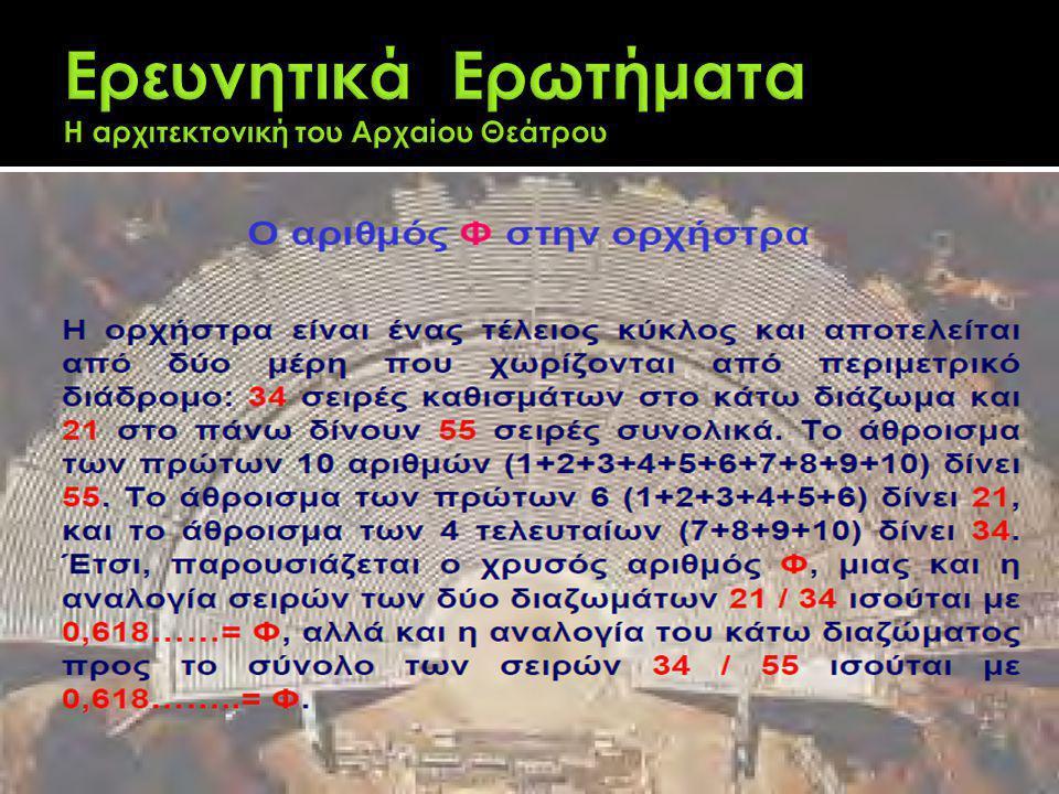Ερευνητικά Ερωτήματα Η αρχιτεκτονική του Αρχαίου Θεάτρου