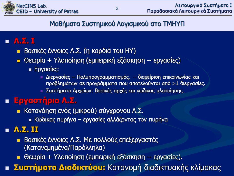 Μαθήματα Συστημικού Λογισμικού στο ΤΜΗΥΠ