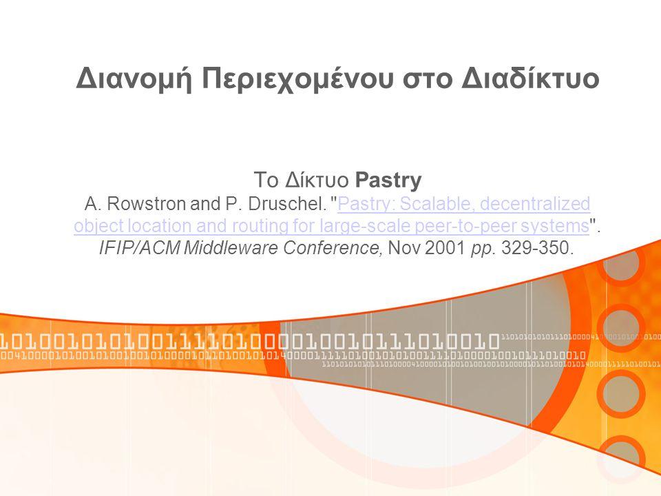 Διανομή Περιεχομένου στο Διαδίκτυο To Δίκτυο Pastry A. Rowstron and P