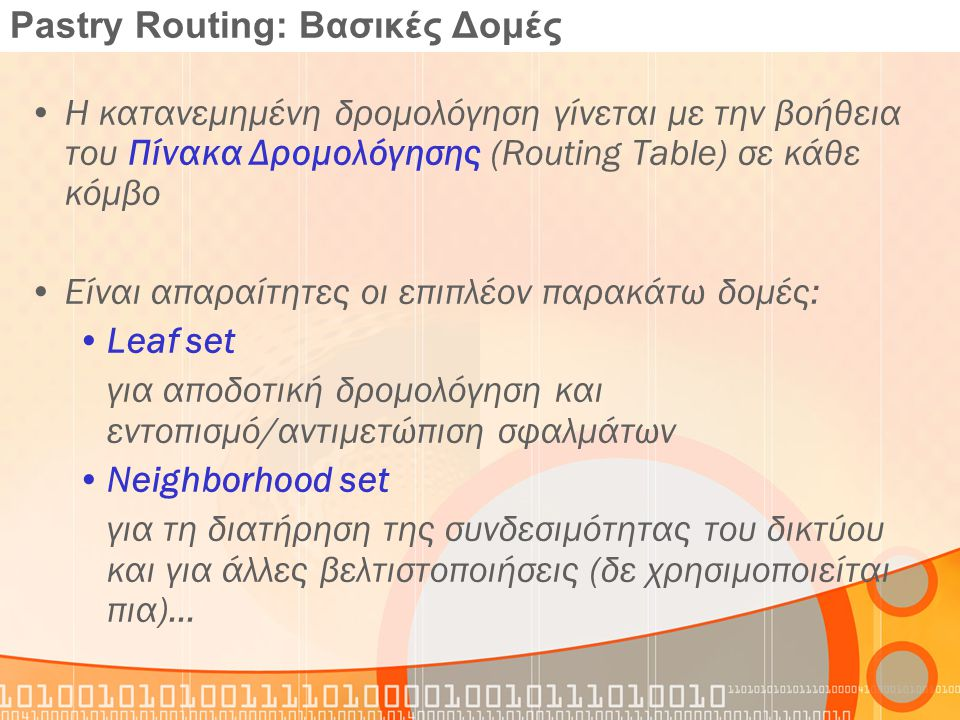 Pastry Routing: Βασικές Δομές