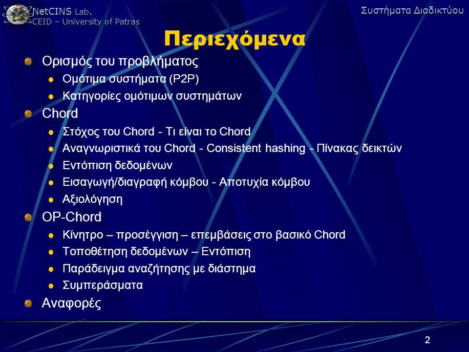 Περιεχόμενα Ορισμός του προβλήματος Chord OP-Chord Αναφορές