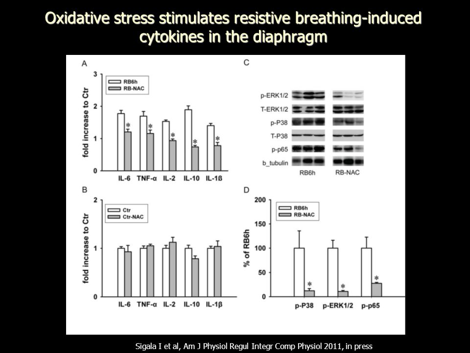 Oxidative stress stimulates resistive breathing-induced cytokines in the diaphragm