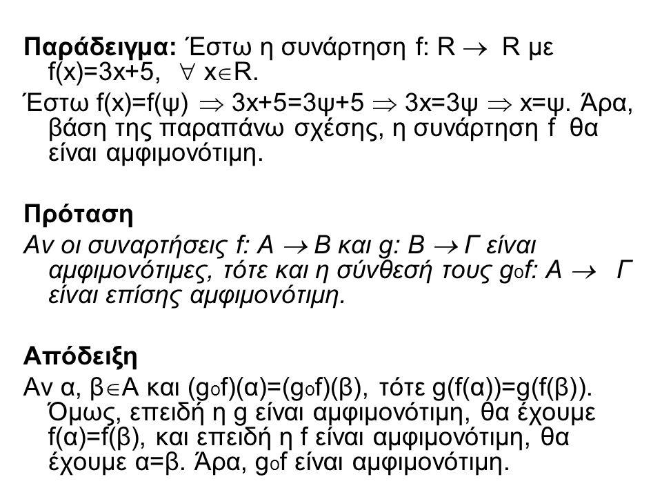 Παράδειγμα: Έστω η συνάρτηση f: R  R με f(x)=3x+5,  xR.