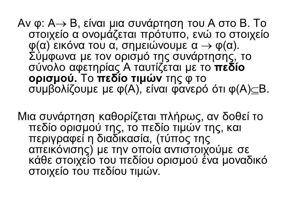 Αν φ: Α Β, είναι μια συνάρτηση του Α στο Β