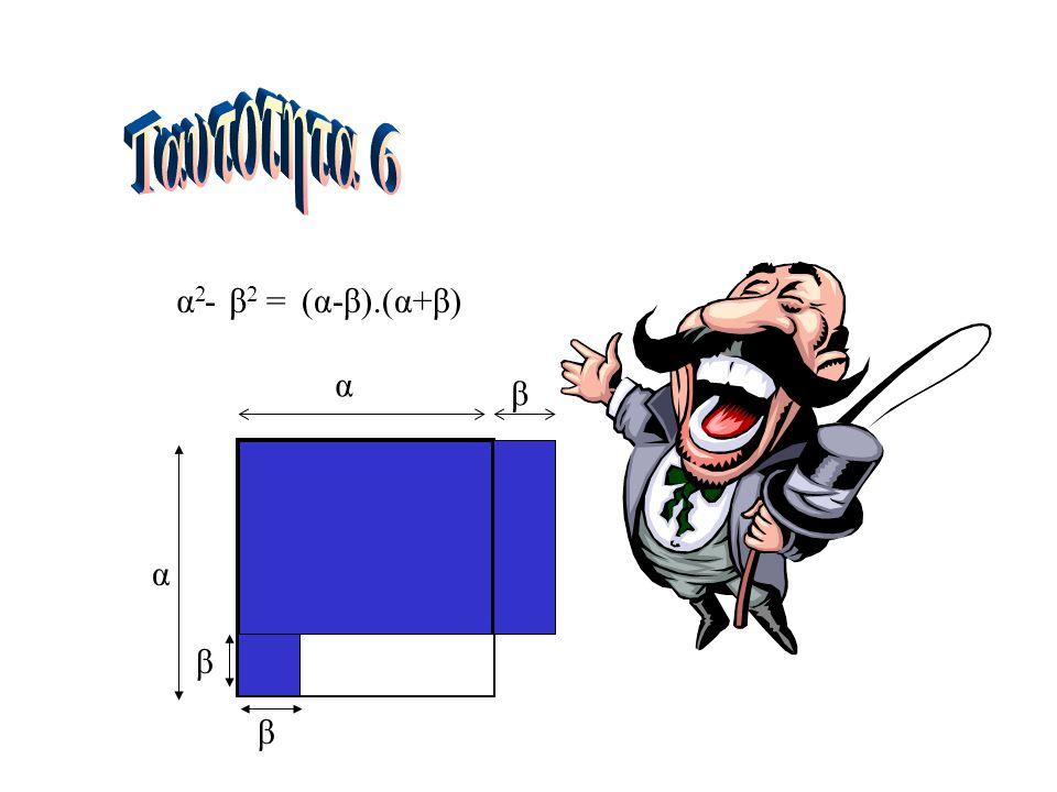 Ταυτοτητα 6 α2 - β2 = (α-β).(α+β) α β α β β