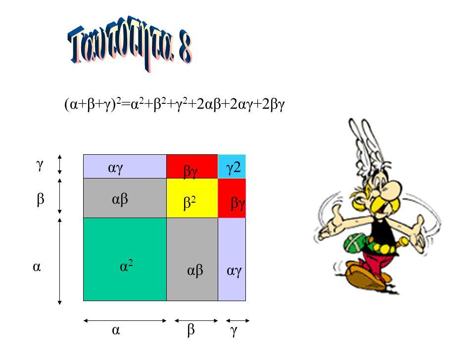 Ταυτοτητα 8 (α+β+γ)2=α2+β2+γ2+2αβ+2αγ+2βγ γ αγ γ2 βγ β αβ β2 βγ α α2