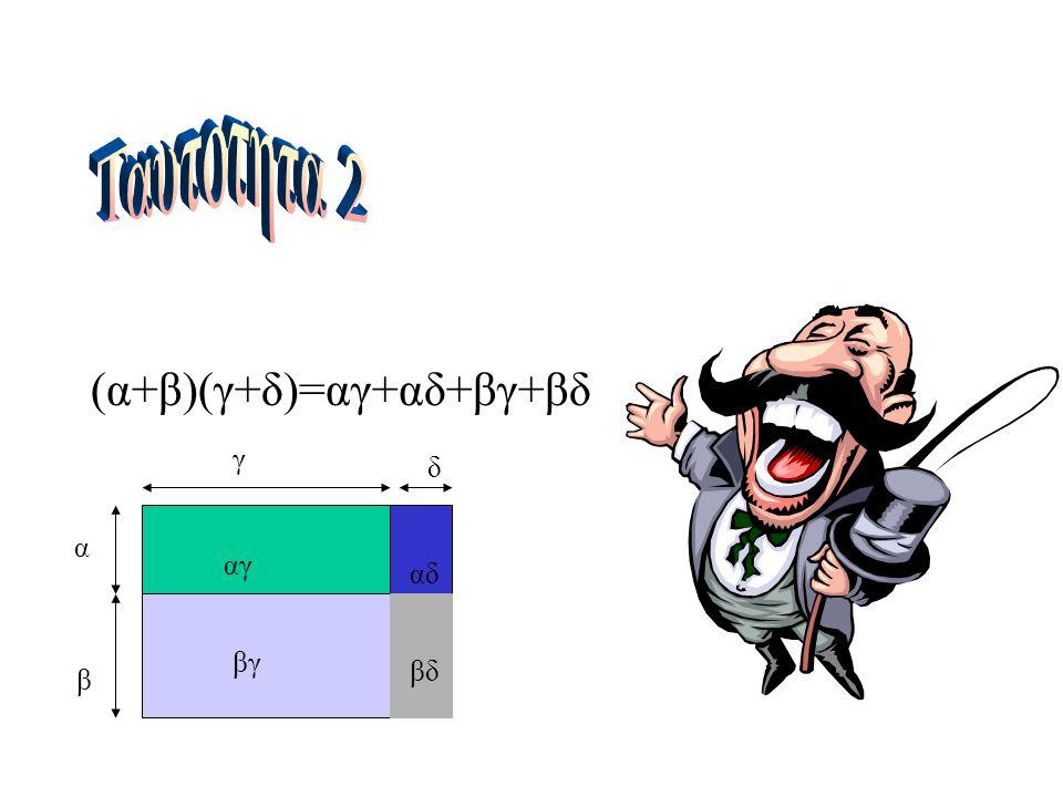 Ταυτοτητα 2 (α+β)(γ+δ)=αγ+αδ+βγ+βδ γ δ α αγ αδ βγ βδ β