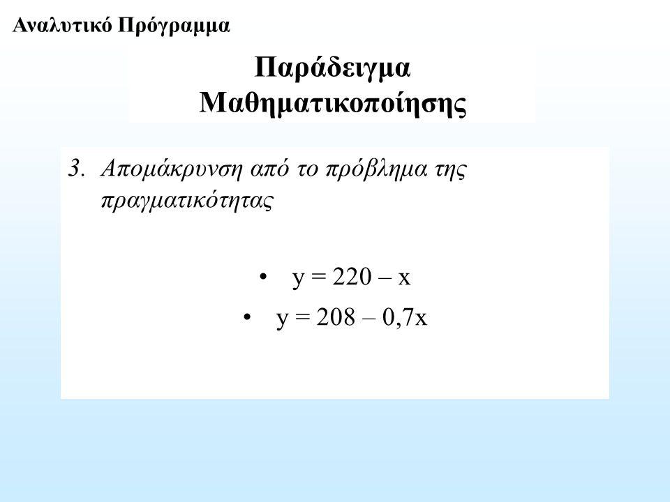 Παράδειγμα Μαθηματικοποίησης