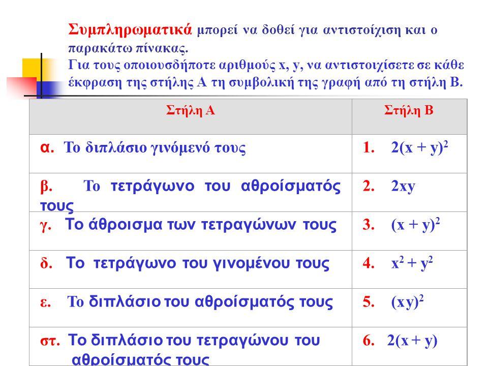 α. Το διπλάσιο γινόμενό τους 1. 2(x + y)2