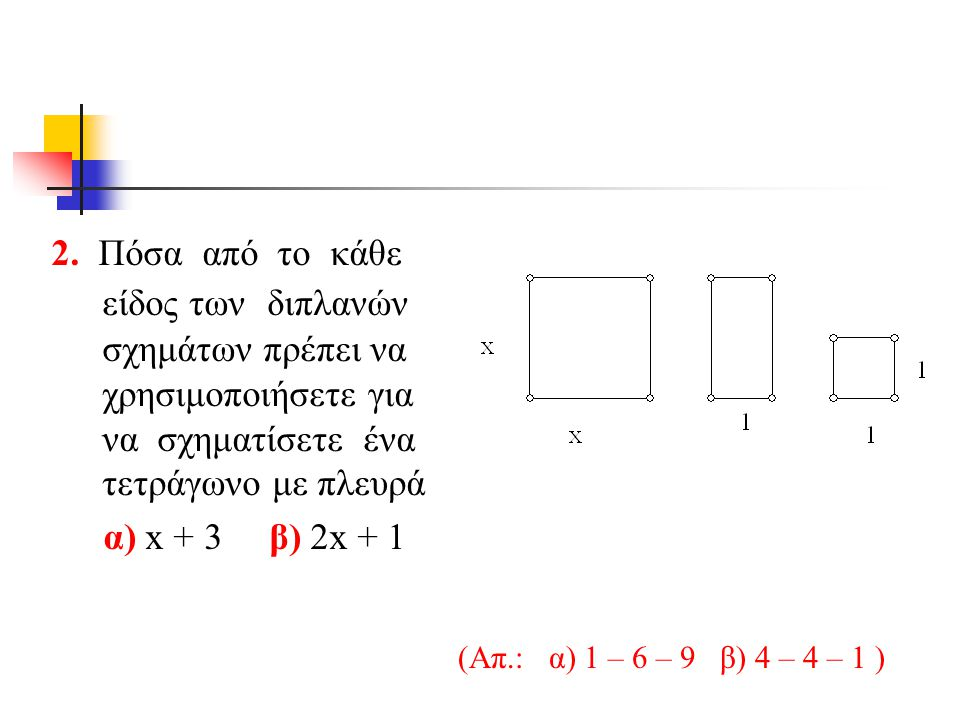 2. Πόσα από το κάθε είδος των διπλανών σχημάτων πρέπει να χρησιμοποιήσετε για να σχηματίσετε ένα τετράγωνο με πλευρά
