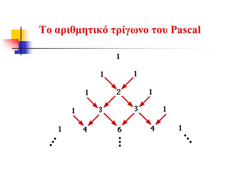 Το αριθμητικό τρίγωνο του Pascal