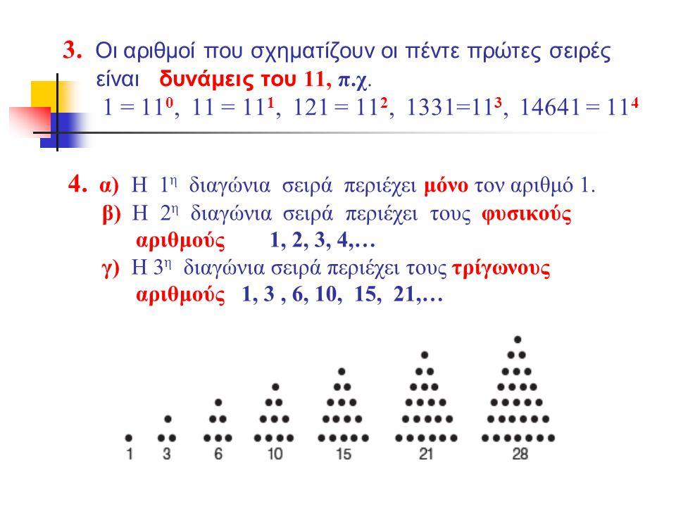 4. α) H 1η διαγώνια σειρά περιέχει μόνο τον αριθμό 1.