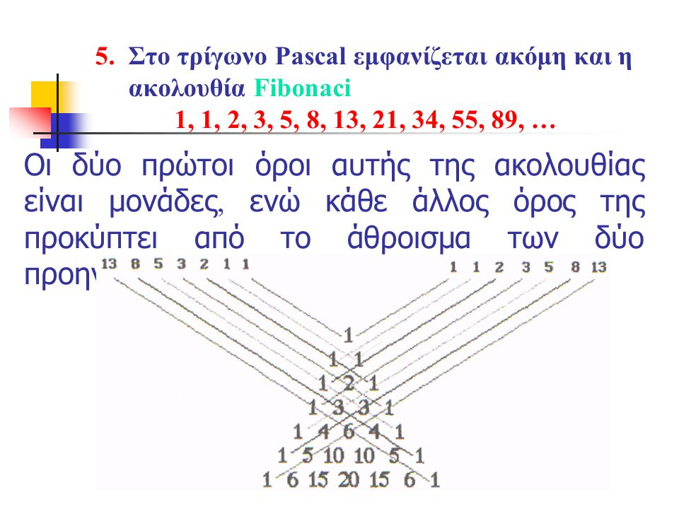 5. Στο τρίγωνο Pascal εμφανίζεται ακόμη και η ακολουθία Fibonaci 1, 1, 2, 3, 5, 8, 13, 21, 34, 55, 89, …