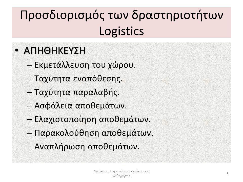 Προσδιορισμός των δραστηριοτήτων Logistics