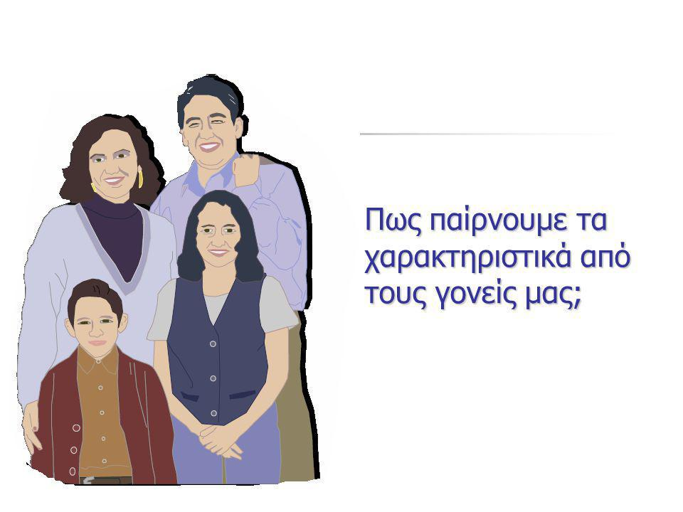 Πως παίρνουμε τα χαρακτηριστικά από τους γονείς μας;