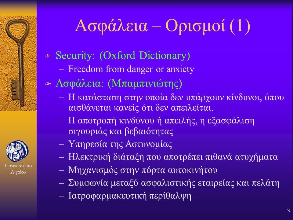 Ασφάλεια – Ορισμοί (1) Security: (Oxford Dictionary)