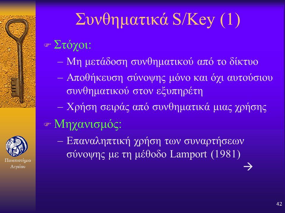 Συνθηματικά S/Key (1) Στόχοι: Μηχανισμός: