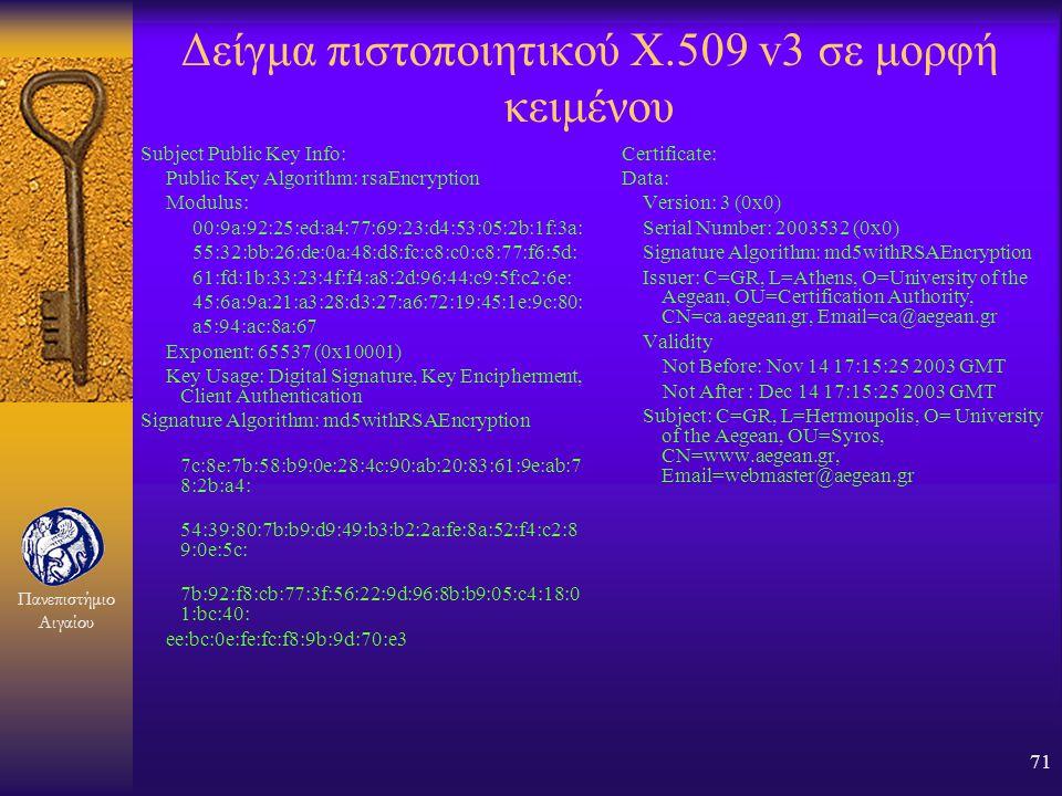 Δείγμα πιστοποιητικού X.509 v3 σε μορφή κειμένου