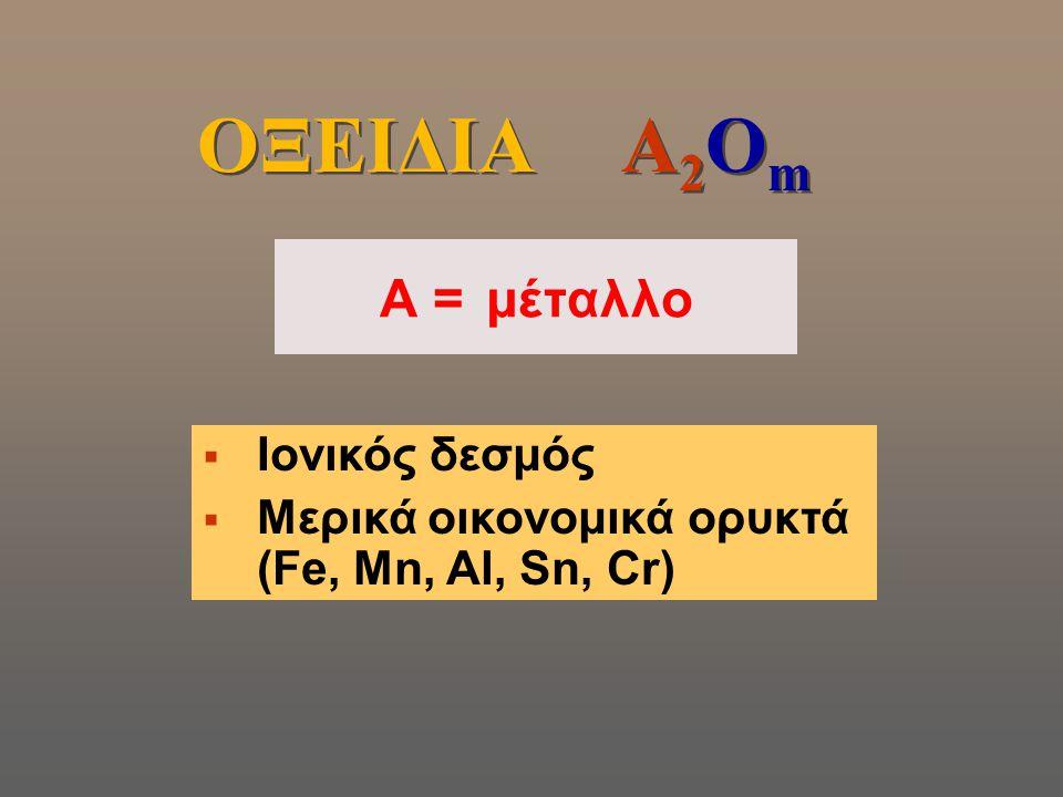 ΟΞΕΙΔΙΑ A2Οm A = μέταλλο Ιονικός δεσμός