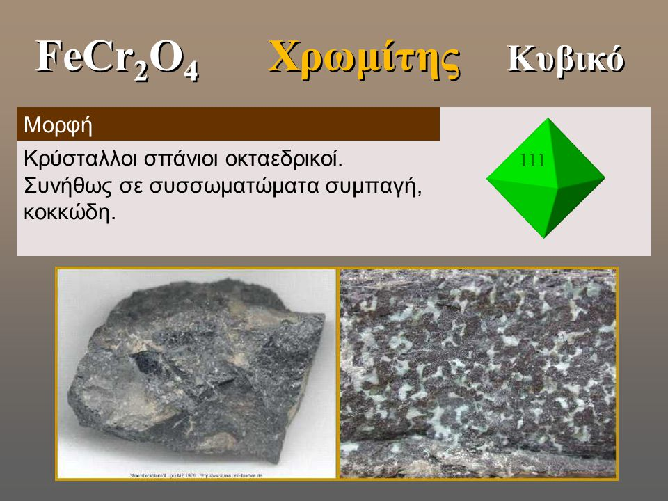 FeCr2O4 Χρωμίτης Κυβικό Μορφή
