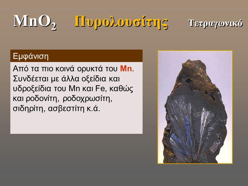 MnO2 Πυρολουσίτης Τετραγωνικό