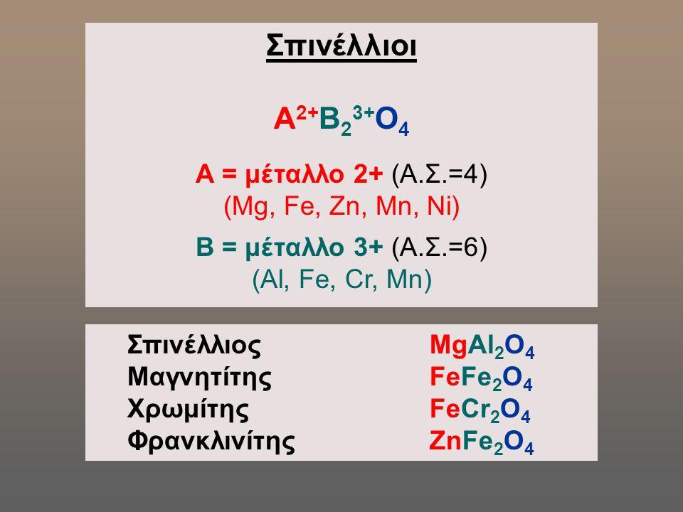 Σπινέλλιοι Α2+Β23+Ο4 Α = μέταλλο 2+ (Α.Σ.=4) (Mg, Fe, Zn, Mn, Ni)