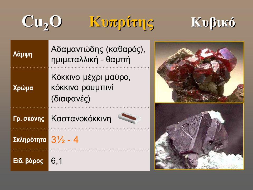 Cu2O Κυπρίτης Κυβικό Λάμψη. Αδαμαντώδης (καθαρός), ημιμεταλλική - θαμπή. Χρώμα. Κόκκινο μέχρι μαύρο, κόκκινο ρουμπινί (διαφανές)