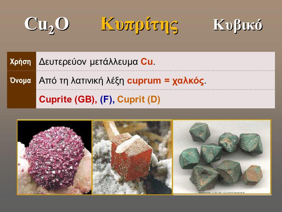 Cu2O Κυπρίτης Κυβικό Δευτερεύον μετάλλευμα Cu.