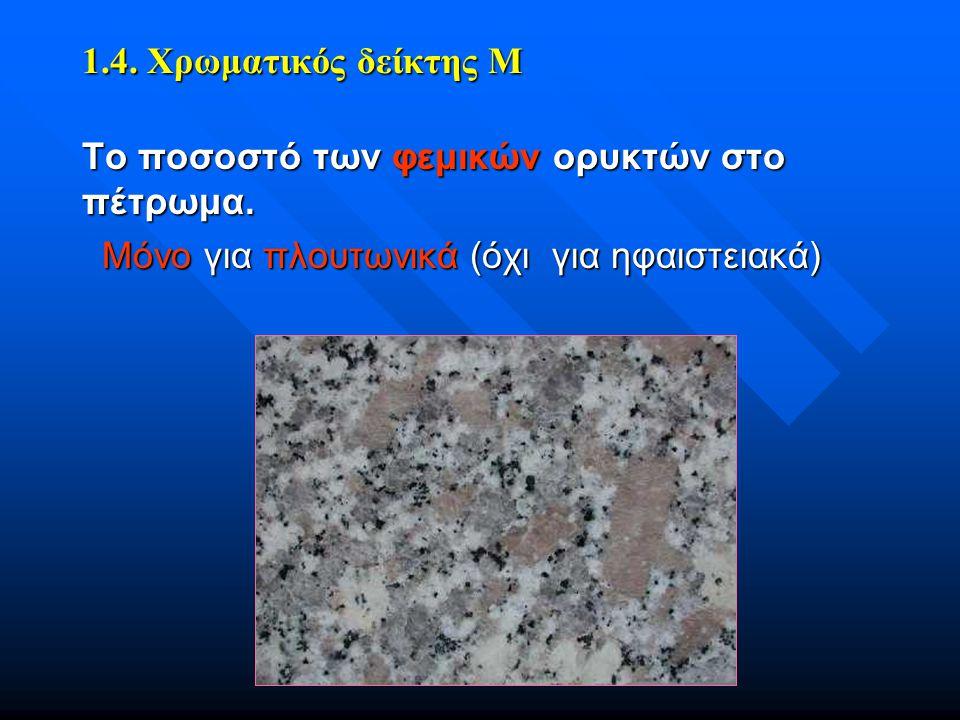 1.4. Χρωματικός δείκτης Μ Το ποσοστό των φεμικών ορυκτών στο πέτρωμα.
