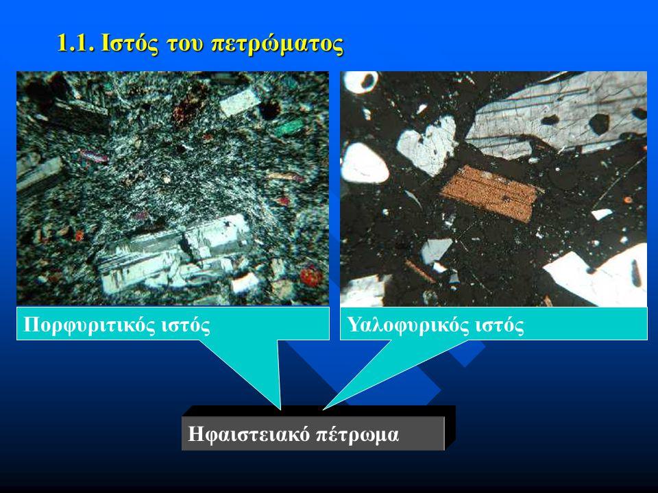 1.1. Ιστός του πετρώματος Πορφυριτικός ιστός Υαλοφυρικός ιστός